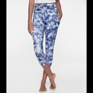 Athleta Blue Tie Dye Salutation Leggings High Rise
